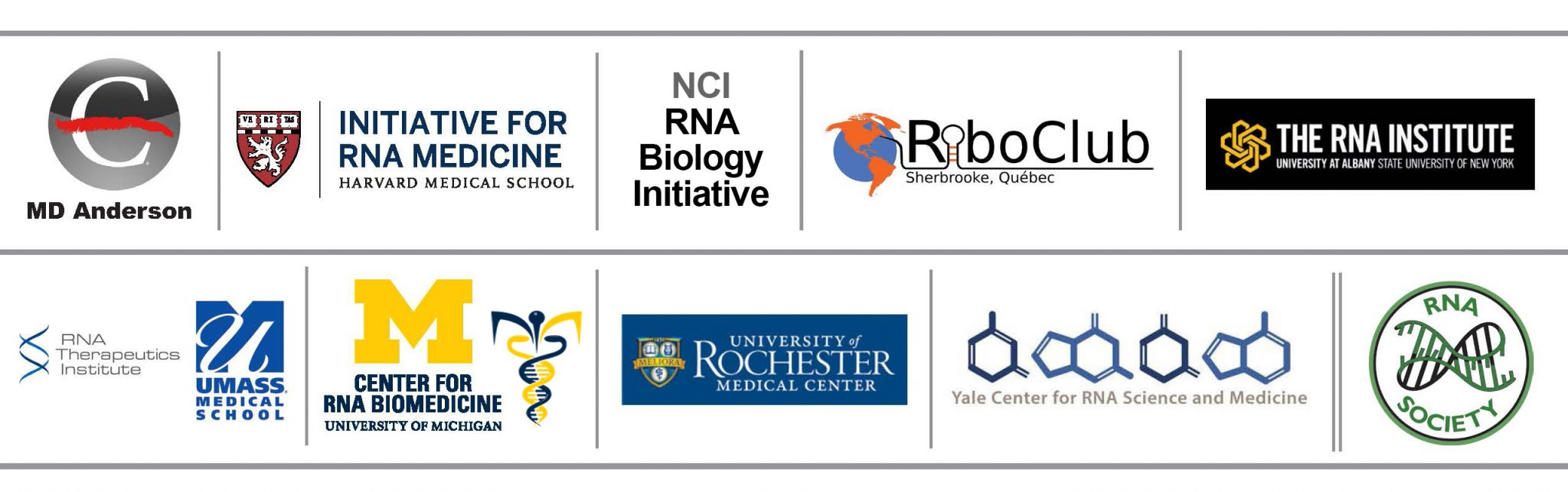 Banner with the logos of all the RNA Collaborative Seminar Series institutions